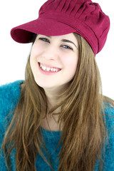 Colorful happy portrait of girl with pink hat