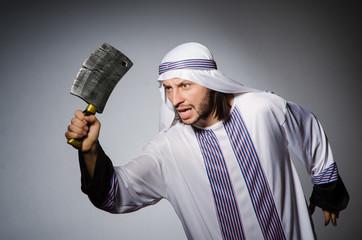 Arab man with sharp axe