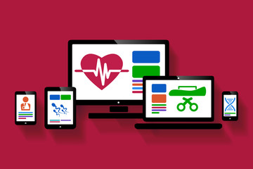Online medical web design illustration
