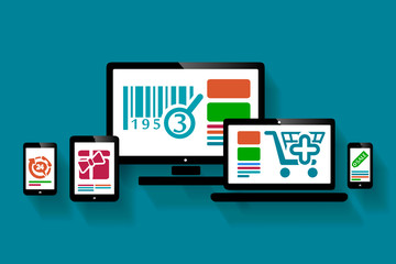 Online shopping web design illustration