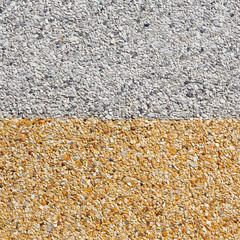 Gray and yellow color gravel floor