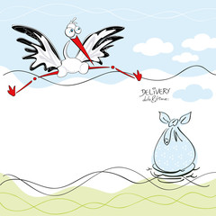 Birthday card design with a stork and big bag