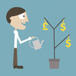 Manager grows a money plant