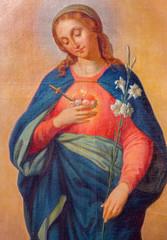 Trnava -  Heart of Virgin Mary paint in Jeusits church