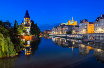 View of Metz with Temple Neuf  and Moselle, Lorraine, France