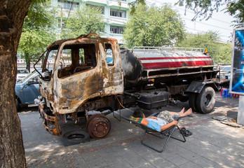 Ausgebrannter Tanklastwagen