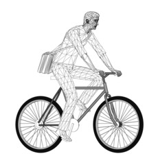 Wireframe design of cyclist with bag