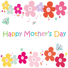Happy mother's colorful flowers butterfly vector