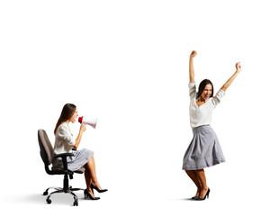 aggressive woman and joyful woman