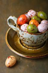 Chocolate easter eggs in a cup