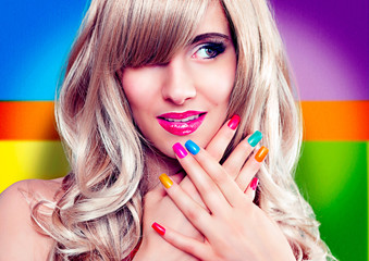 beautiful girl with colorful nails-ladybabe 09