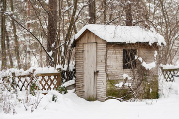 Gartenschuppen im Winter, Hut in a garden in winter
