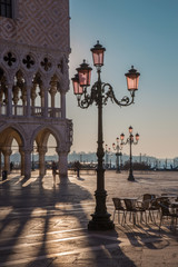 Venice -  Doge palace and Saint Mark square in morning light.