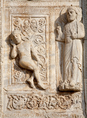Verona - Relief of creation of Adam - Basilica San Zeno.