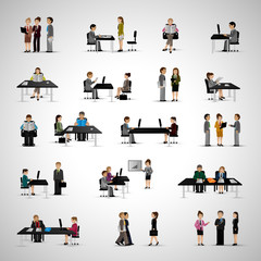 Business People - Isolated On Gray Background