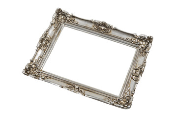 Silver frame in perspective over white with clipping path.