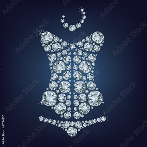 Lady s sexy corset made from diamonds