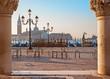 Venice - column of Doge palace and San Giorgio Maggiore church