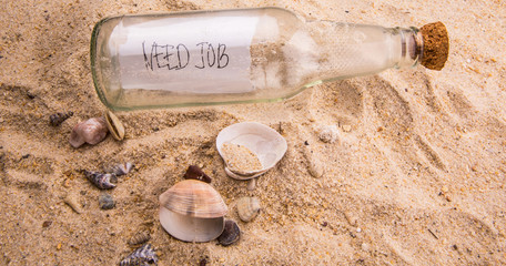 Concept image of a message NEED JOB in a bottle