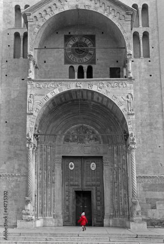 Verona - Duomo or cathedral facade and little girl