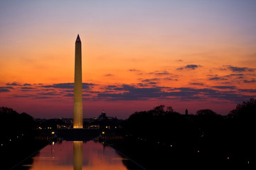 Washington Monument at Sunrise Across Reflecting Pool