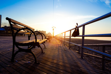 Bench on Coney Island Boardwalk