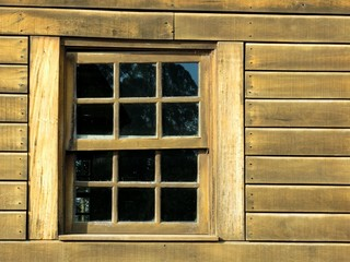Wooden Wall Window Closeup