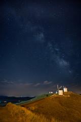 Windmills of Consuegra under Milky Way - La Mancha, Spain