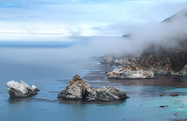 Cliffs next to McWay Falls - Big Sur State Park, California, USA