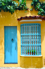 Typical Colonial house in the Old City of Cartagena, Colombia