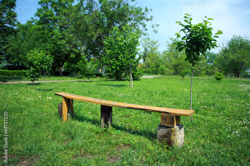 Fotobehang Tuin handmade old wooden bench in the green field