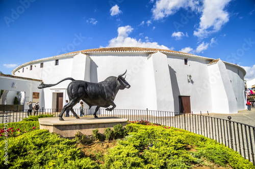 Leinwanddruck Bild Spains oldest bullring built in 1785, Ronda, Malaga Province