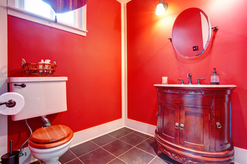 Bathroom with antique vanity
