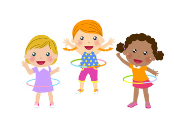 Three cute girls twirling hula hoop