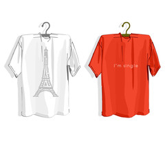 Template t-shirt on cloth hangers.