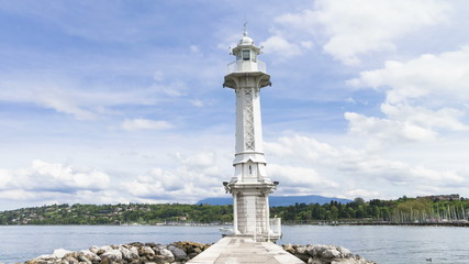 4k Lighthouse on Lac Leman in Geneva, Switzerland
