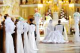Fototapety Beautiful flower wedding decoration in a church