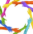 Multicolored Arms Forming a Circle and Copy Space
