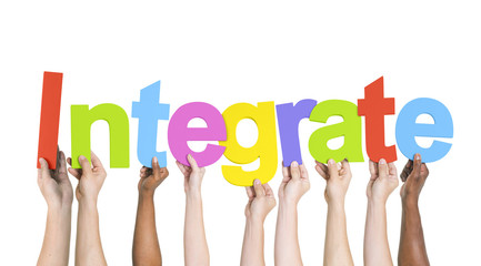 Diverse Hands Holding the Word Integrate