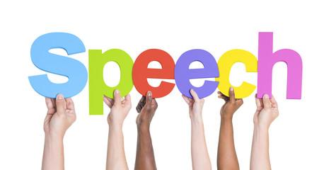 Diverse Hands Holding the Word Speech