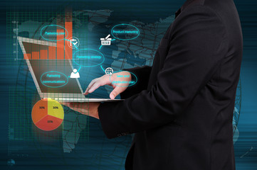 businessman showing marketing strategy concept on virtual screen