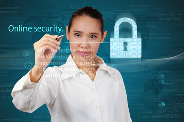 Business woman showing concept of online business security.