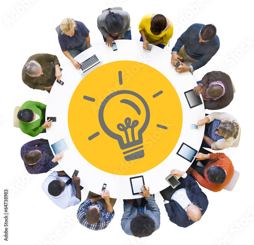 Multiethnic People Using Digital Devices with Light Bulb Symbol