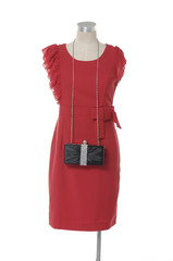 Women red evening dress on a dummy isolated