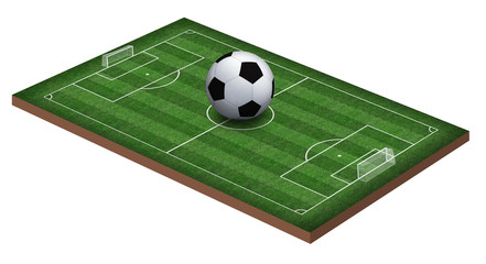 Soccer field and soccer ball, 3d