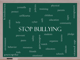 Stop Bullying Word Cloud Concept on a Blackboard poster