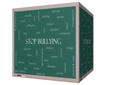 Stop Bullying Word Cloud Concept on a 3D cube Blackboard poster