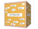 Stop Bullying 3D cube Corkboard Word Concept poster