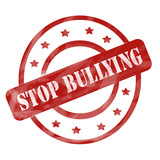 Red Weathered Stop Bullying Stamp Circles and Stars poster
