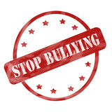 Red Weathered Stop Bullying Stamp Circle and Stars poster
